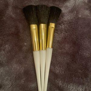 Gold rimed, black Bristle, makeup brushes. 3 for $10